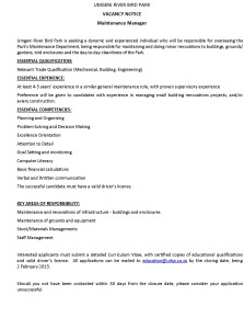 Maintenance Manager Vacancy